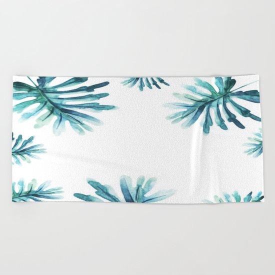 Watercolor botanic pattern Beach Towel