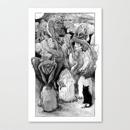 Three Wise Zombies Grayscale Canvas Print