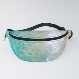 Aerial Hawaii surf reef sand and ocean waves Fanny Pack