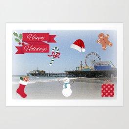 Happy Holidays from Santa Monica Pier Art Print