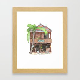 Tropical island hut with palm, travel sketch from Koh Rong island, Cambodia Framed Art Print