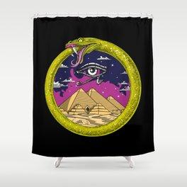 Egyptian Pyramids Ouroboros Snake Shower Curtain