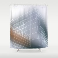 architect Shower Curtains featuring Minimalist architect drawing by Solar Designs