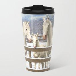 White Horses in Snow Travel Mug