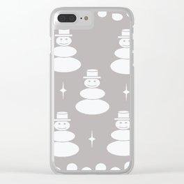 Snowmen -gray-pattern Clear iPhone Case