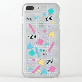 Memphis Shapes Clear iPhone Case