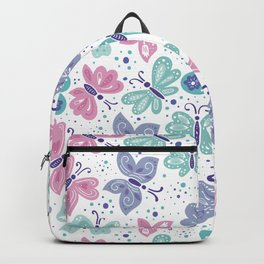 pink, teal and blue butterflies Backpack