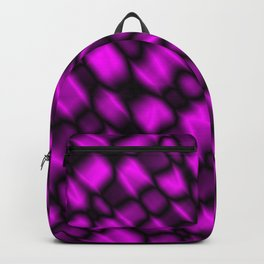 Drops in a pink diagonal along the surface of the water on a metal film.  Backpack