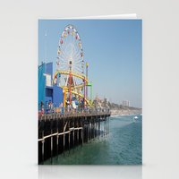 santa monica Stationery Cards featuring santa monica by vida é muerte