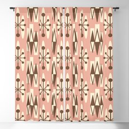 Retro Mid Century Modern Atomic Triangles 727 Brown and Dusty Rose Blackout Curtain