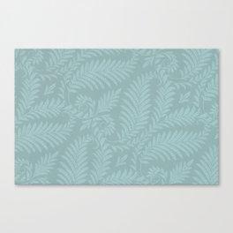 Fancy Light Blue Leaves Scroll Damask on Dark Turquoise Canvas Print