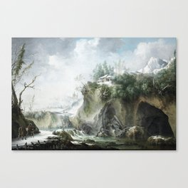 A river landscape in winter, with travellers on a snowy path by Francesco Foschi Canvas Print