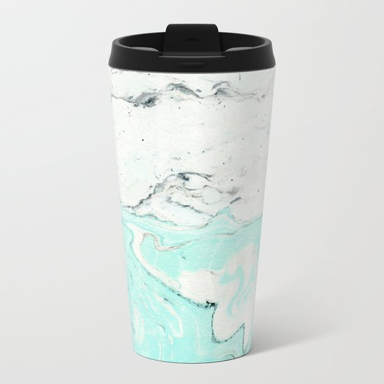 Light blue pastel marble Metal Travel Mug