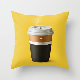 Coffee battery Throw Pillow