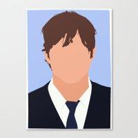 ashton irwin Canvas Prints featuring Ashton Kutcher Digital Portrait by RoarsAdams