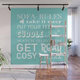 Sofa Rules Blue Wall Mural