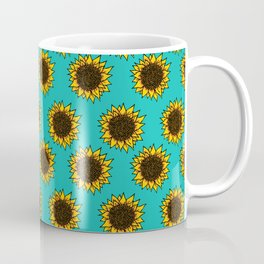 Aqua Sunflowers Coffee Mug