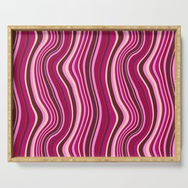 Pink, red and magenta parallel curves background Serving Tray