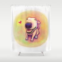 bull terrier Shower Curtains featuring bull terrier by Kappacha