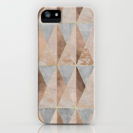 Copper Foil and Blush Rose Gold Marble Triangles Argyle iPhone Case