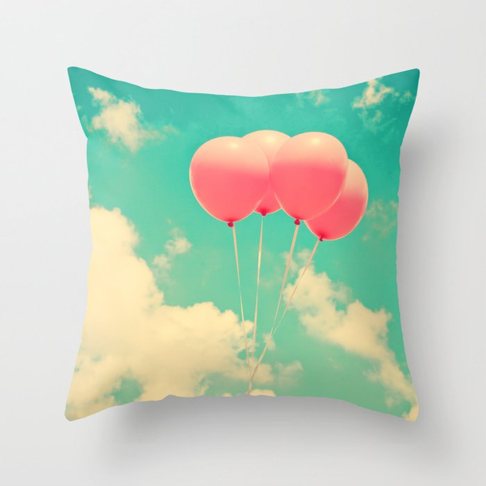 Balloons in the sky (pink ballons in retro blue sky) Throw Pillow