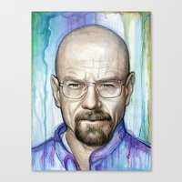 walter white Canvas Prints featuring Walter White Portrait by Olechka