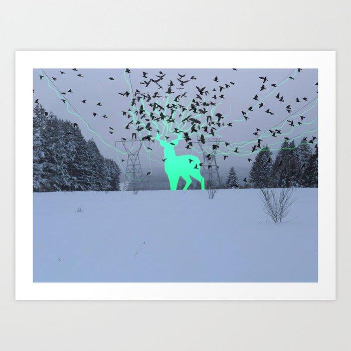 Electric Spirit Deer Art Print