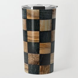 Chequered Past, Carved Wood Chess Board Travel Mug