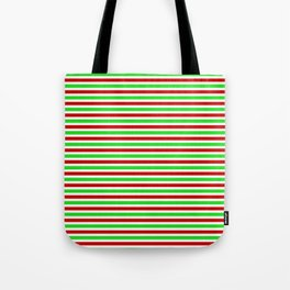 Christmas Themed Red, White & Green Colored Lined/Striped Pattern Tote Bag