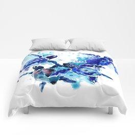 Sea Turtles, Marine Blue underwater Scene artwork Comforters