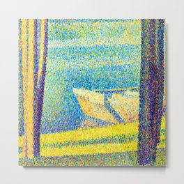 Georges Seurat Moored Boats and Trees Metal Print