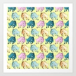 Cute Yellow Kawaii Wild Boar Watercolor Pattern Print Art Print