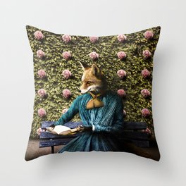 Fiona Fox reading in the garden Throw Pillow