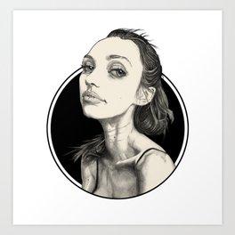 Arina Black Circle Art Print