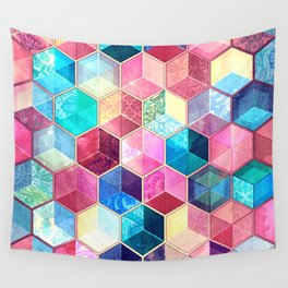 Topaz & Ruby Crystal Honeycomb Cubes Wall Tapestry