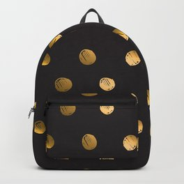 Abstract polka dot illustration pattern.Cute hand drawn gold and black ink design elements, luxury, golden, sparkle, glitter on dark background Backpack