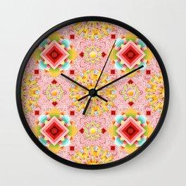Pink Paisley Sunshine Wall Clock