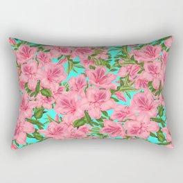 Azaleas on Aqua Rectangular Pillow