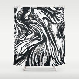Marbled Black Shower Curtain