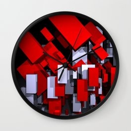 red and white boxes - landscapeformat Wall Clock