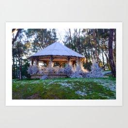 Kiosk in winter Art Print