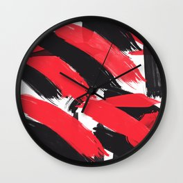 Modern Abstract Black Red Brush Strokes Pattern Wall Clock