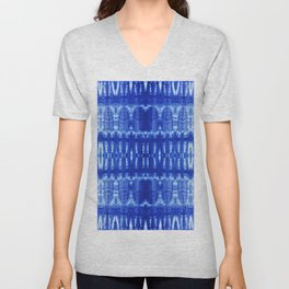 tie dye ancient resist-dyeing techniques Indigo blue textile abstract pattern Unisex V-Neck