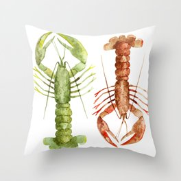 Colorful Lobsters Throw Pillow