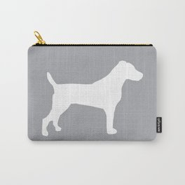 Jack Russell Terrier gray and white minimal dog pattern dog silhouette Carry-All Pouch