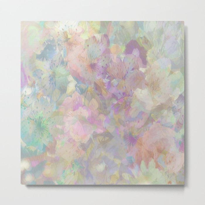 Sweet Spring Pastel Floral Abstract Metal Print