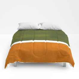 Olive Green Yellow Ochre Minimalist Abstract Colorful Midcentury Pop Art Rothko Color Field Comforters