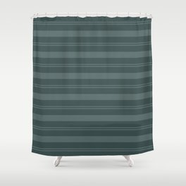 Juniper Berry Green PPG1145-6 Thick and Thin Horizontal Stripes on Night Watch PPG1145-7 Shower Curtain