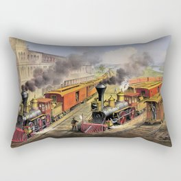 American Railroad Scene (Currier & Ives) Rectangular Pillow