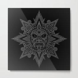 Ancient Gray and Black Aztec Sun Mask Metal Print